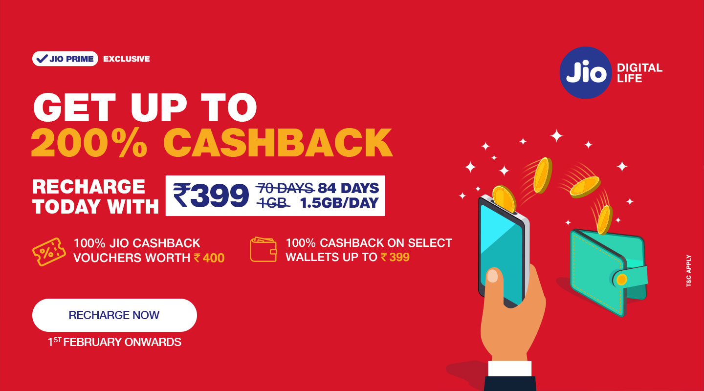 Great Cashback for Jio users