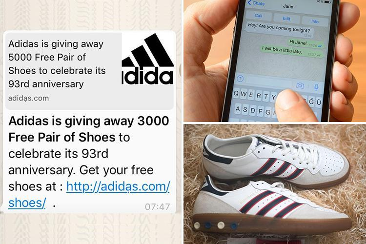 free Adidas shoes scam on WhatsApp