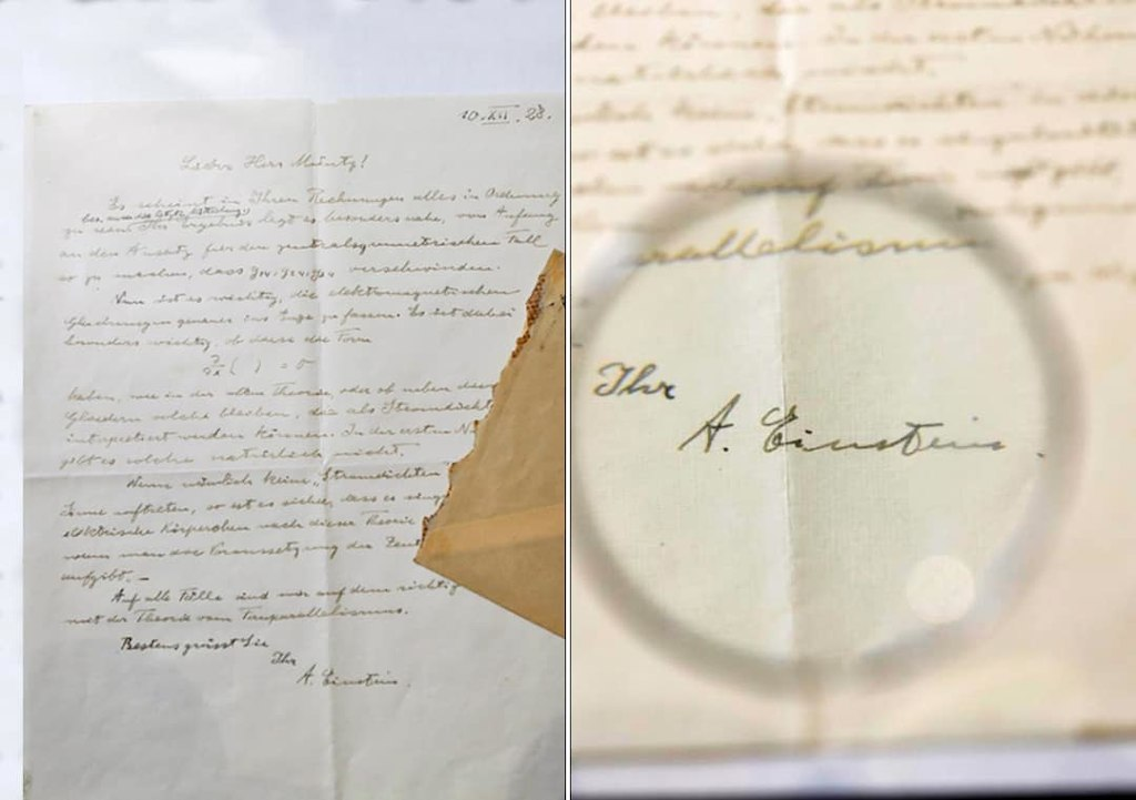 Einstein's relativity letter auctioned for $ 103,700